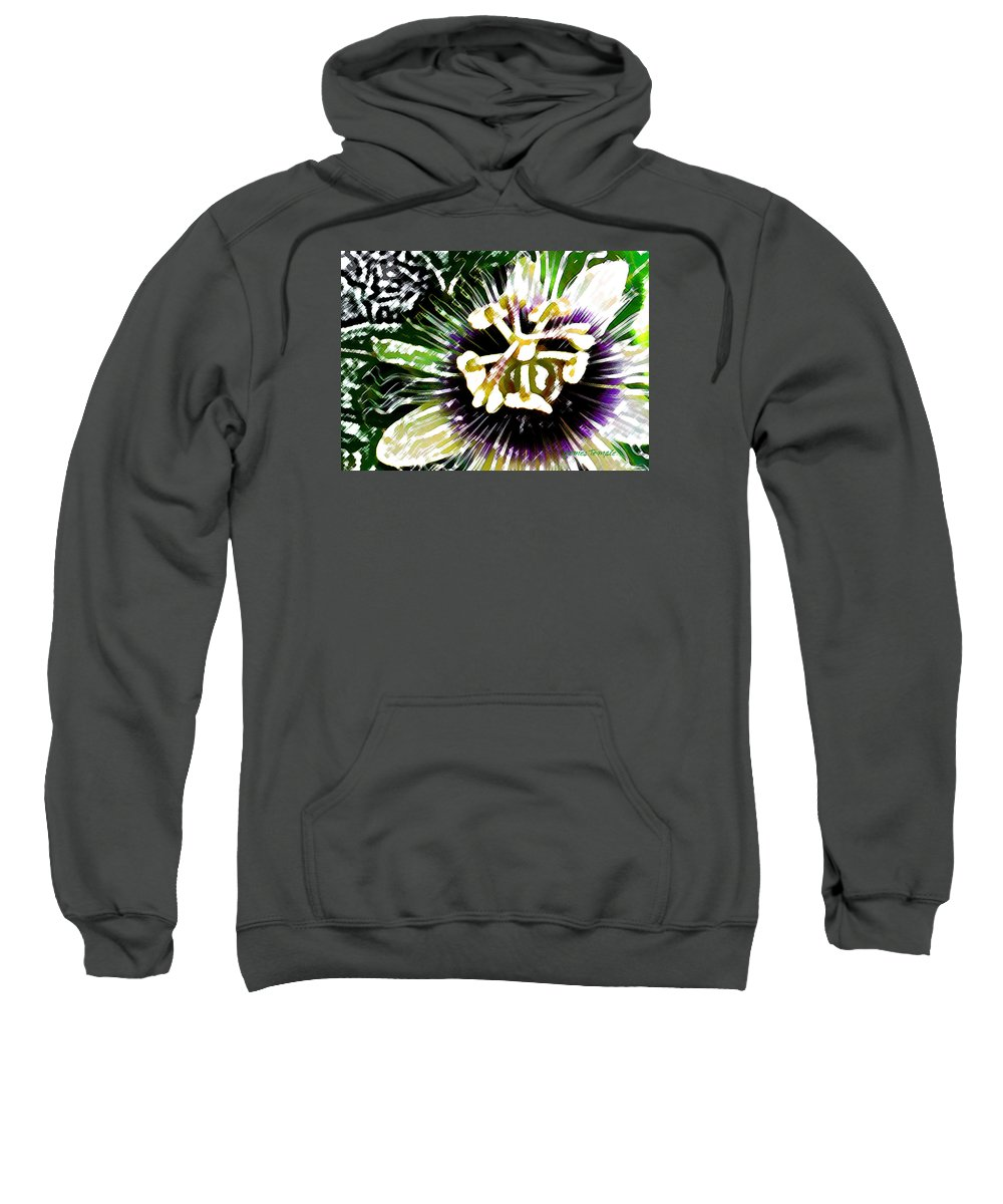 Passion Fruit Flower Sweatshirt featuring the digital art Passion Flower by James Temple