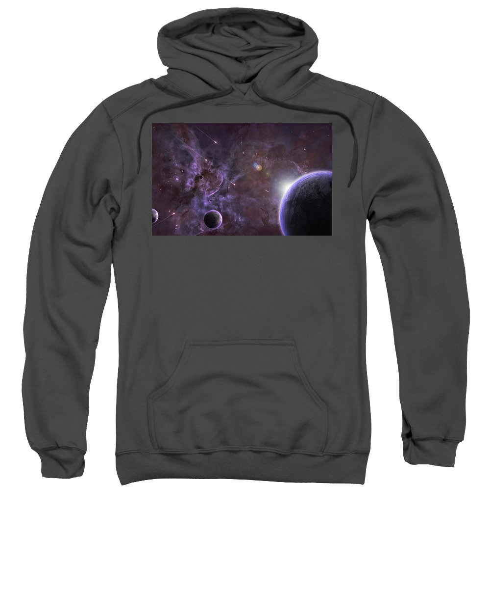 Planets Sweatshirt featuring the digital art Planets by Bert Mailer