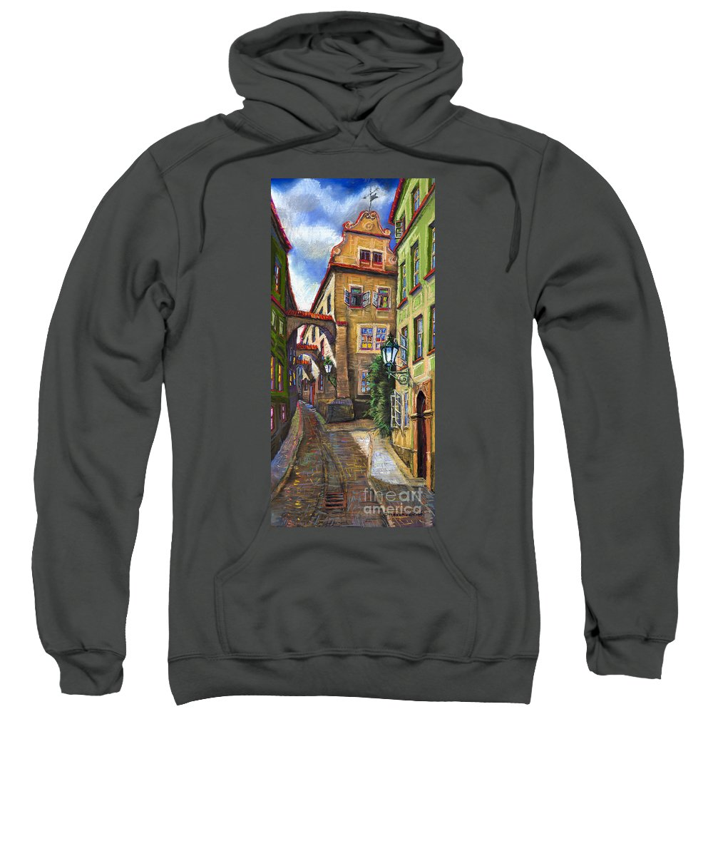 Prague Sweatshirt featuring the painting Prague Old Street by Yuriy Shevchuk