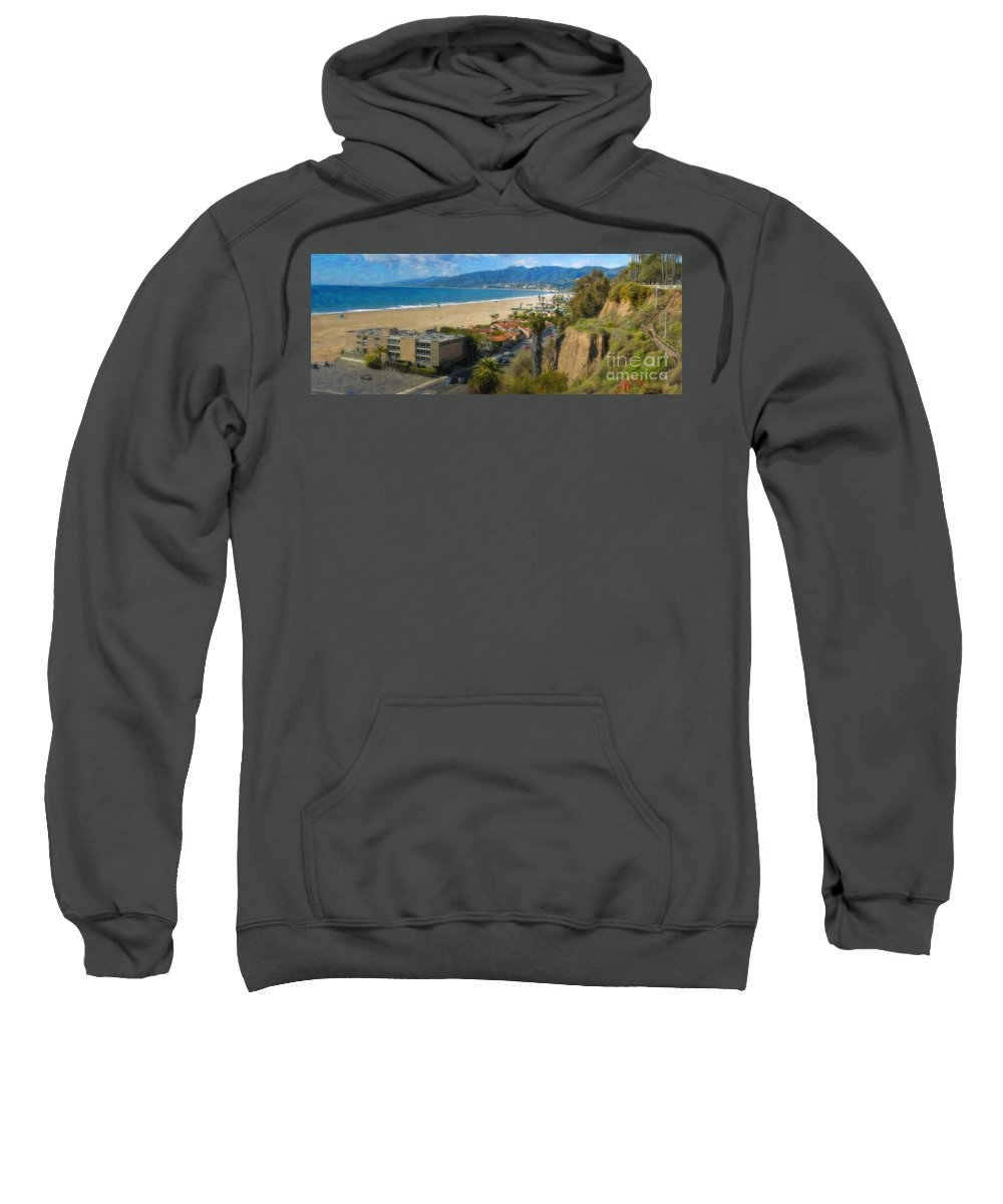 Santa Monica Ca Steps Palisades Park Bluffs Sweatshirt featuring the photograph Santa Monica Ca Steps Palisades Park Bluffs by David Zanzinger