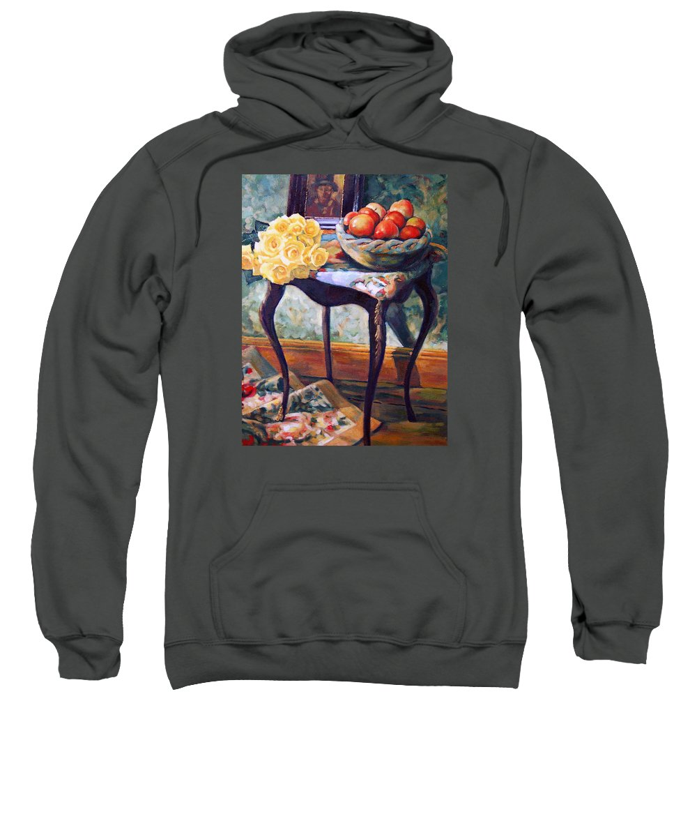 Still Life Sweatshirt featuring the painting Still Life With Roses by Iliyan Bozhanov