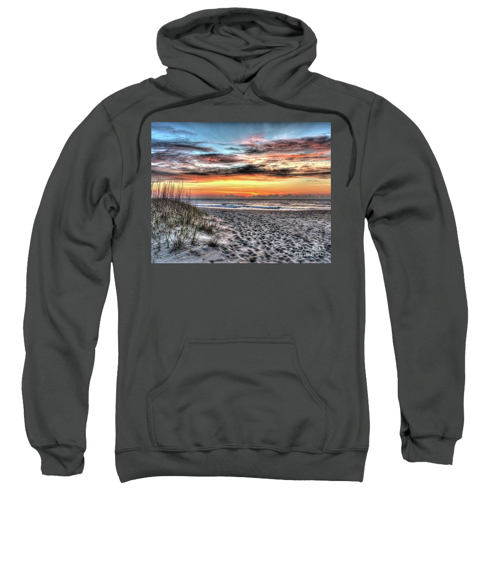 Currituck Beach Sweatshirt featuring the photograph Sunrise Outer Banks Of North Carolina Seascape by Greg Hager