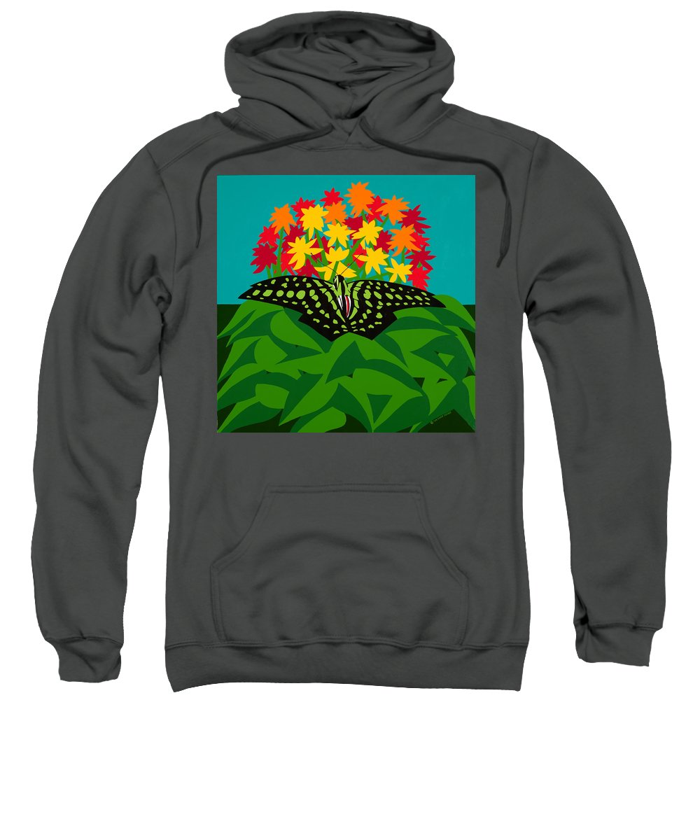 Butterflies Sweatshirt featuring the painting Tailed Jay by Synthia SAINT JAMES