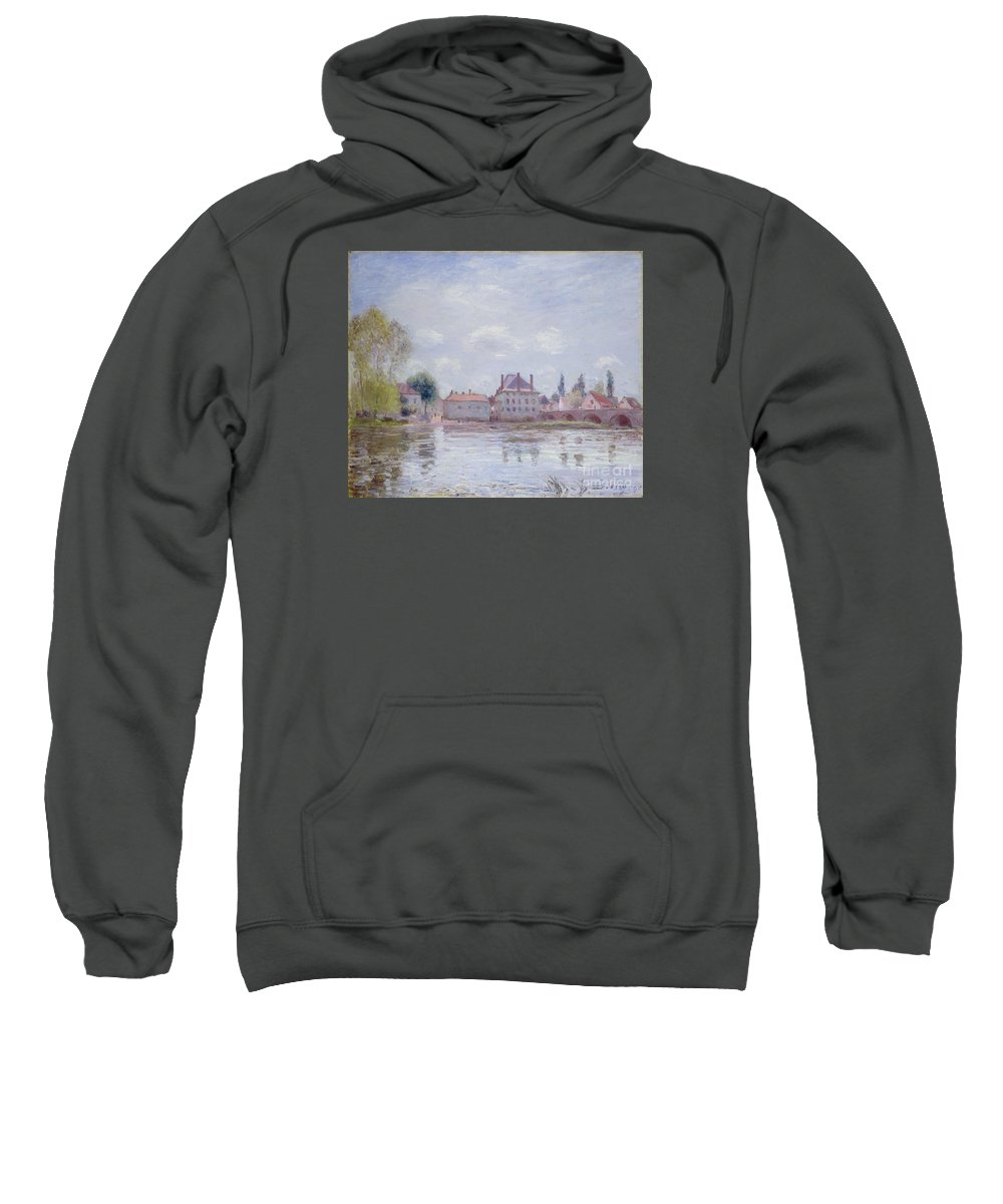 The Bridge Of Moret-sur-loing Sweatshirt featuring the painting The Bridge Of Moret by MotionAge Designs
