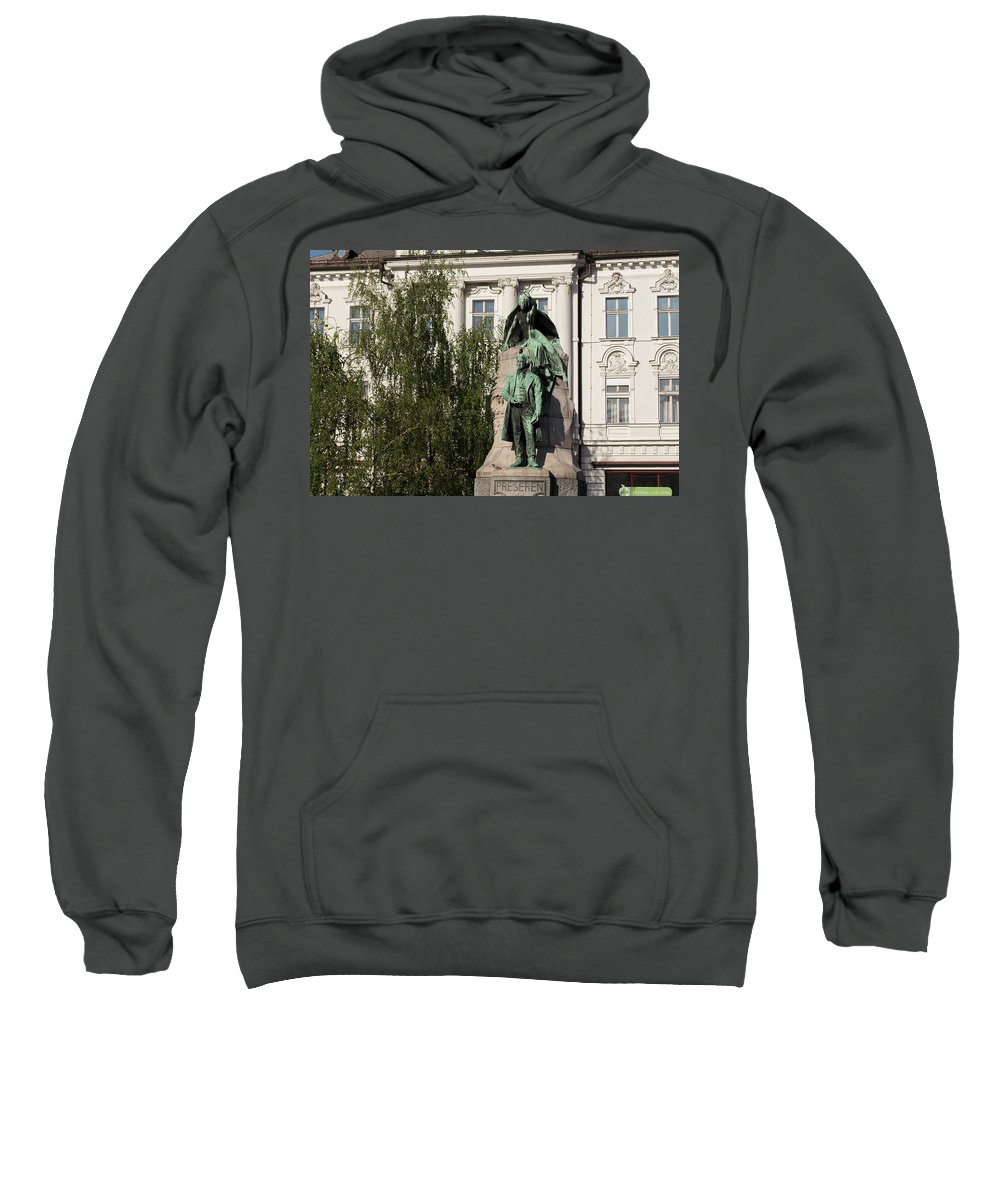 Archival Sweatshirt featuring the photograph The Statue Of France Preseren And His Muse by Blaz Gvajc