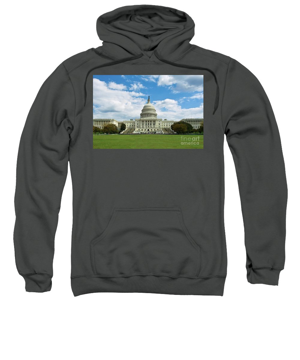 Congress Sweatshirt featuring the photograph Us Capitol Washington Dc Negative by Kimberly Blom-Roemer