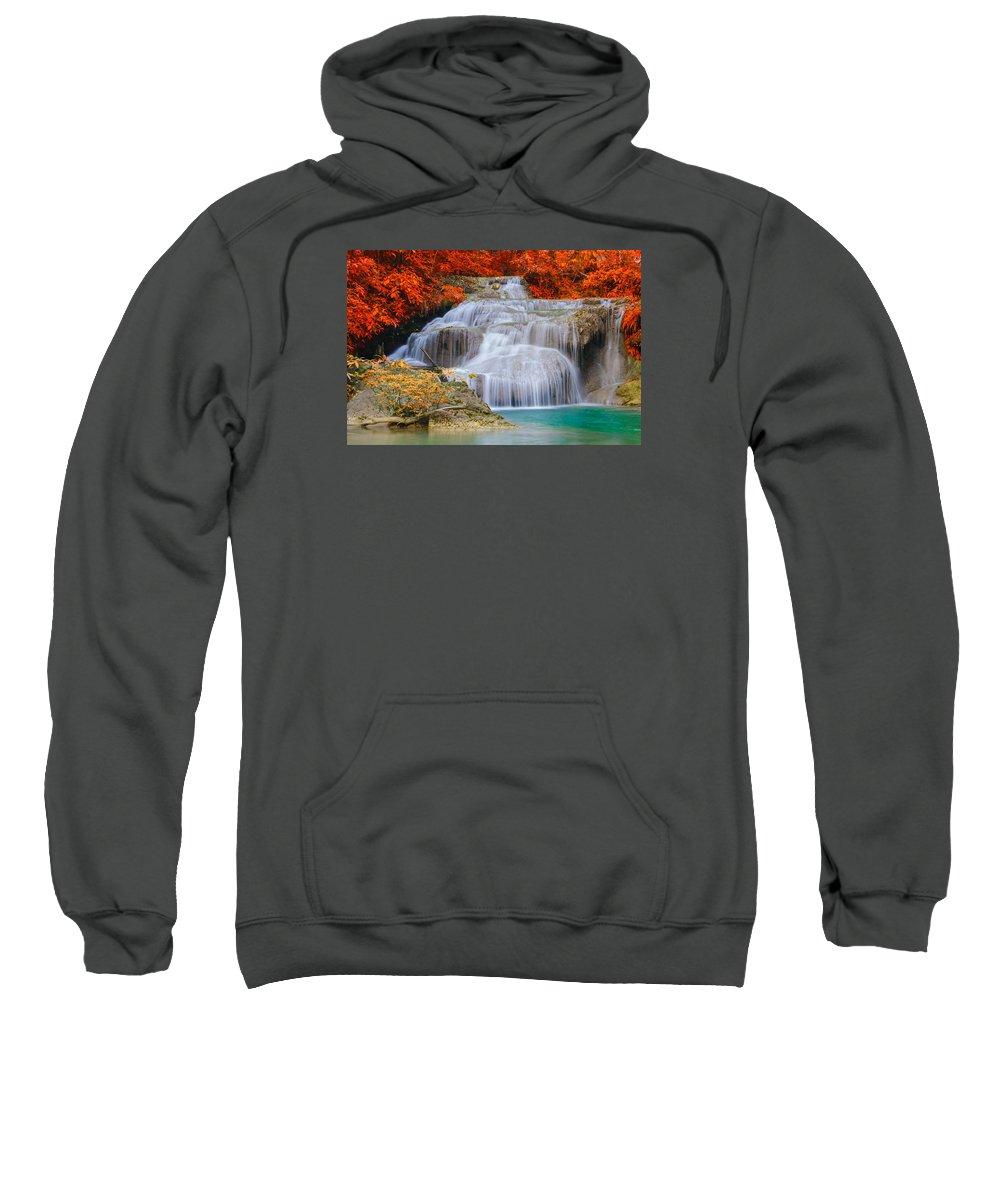 Waterfall Sweatshirt featuring the painting Watherfall Between Trees by Galeria Trompiz