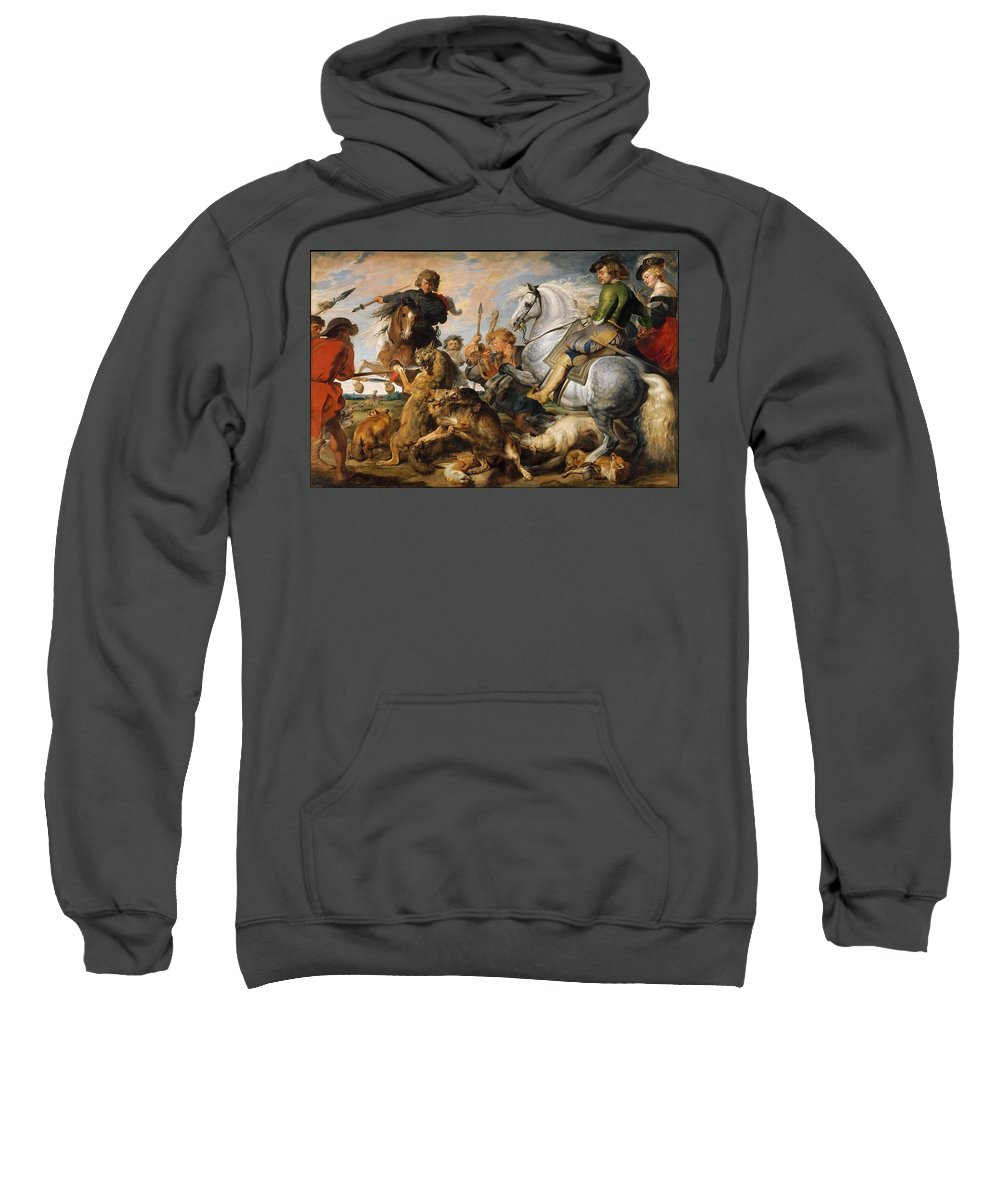Wolf And Fox Hunt Artist Peter Paul Rubens (flemish Sweatshirt featuring the painting Wolf And Fox Hunt by MotionAge Designs