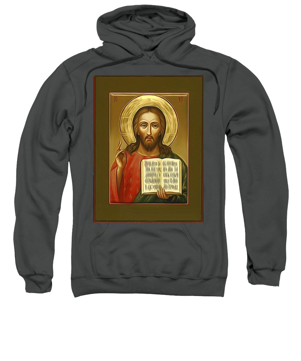 Jesus Sweatshirt featuring the digital art Jesus Christ Catholic Art by Carol Jackson