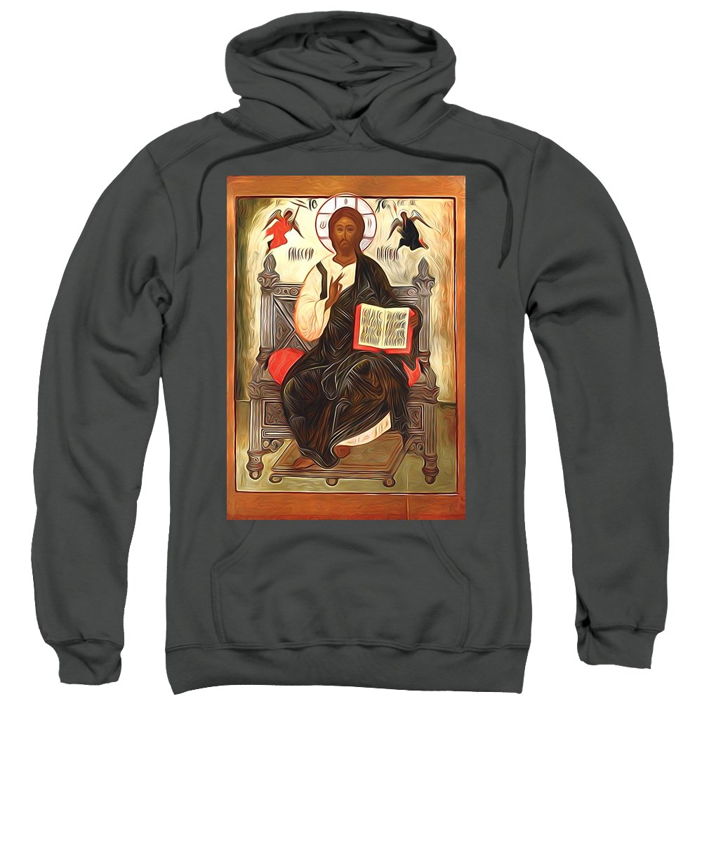 Jesus Sweatshirt featuring the digital art Jesus Christ Lord Savior by Carol Jackson