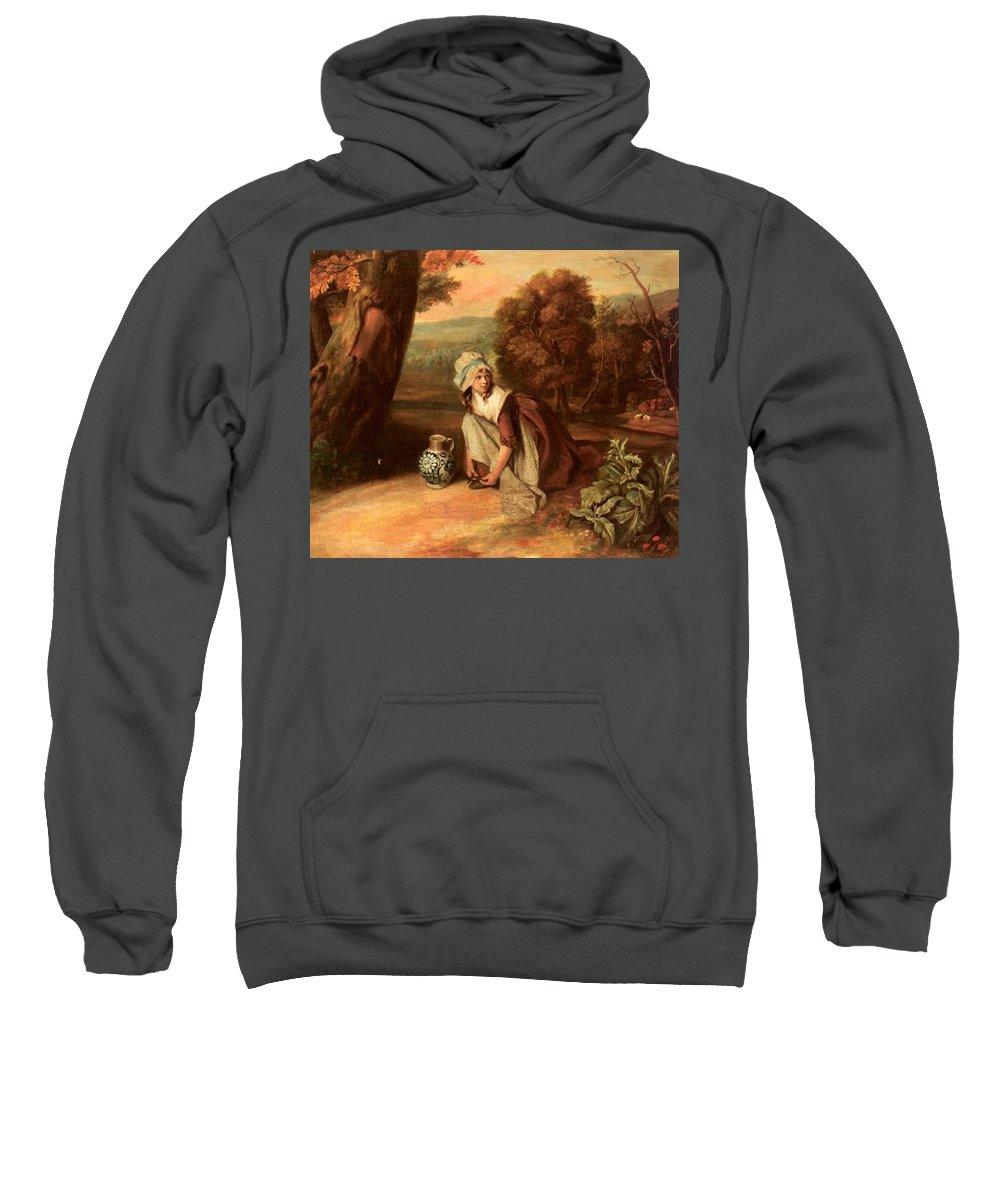 Adult Sweatshirt featuring the digital art Walton Henry A Country Maid Henry Walton by Eloisa Mannion