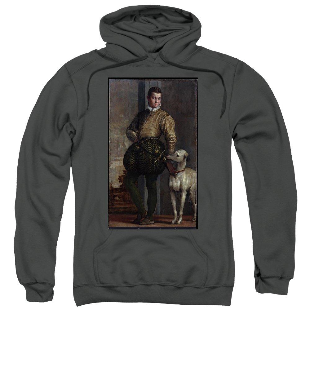 Boy With A Greyhound Sweatshirt featuring the painting Boy With A Greyhound by MotionAge Designs