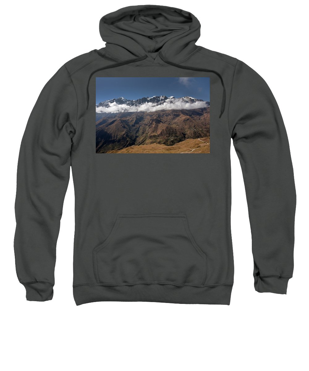 Cordillera Real Sweatshirt featuring the photograph Cordillera Real And Illampu by Aivar Mikko