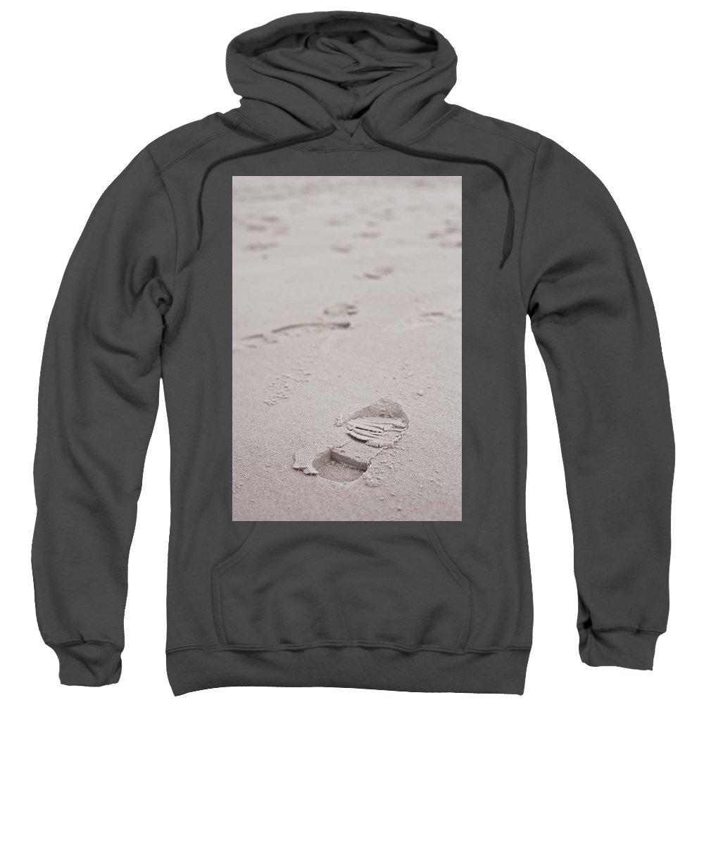 Beach Sweatshirt featuring the photograph Footprints by Tom Gowanlock