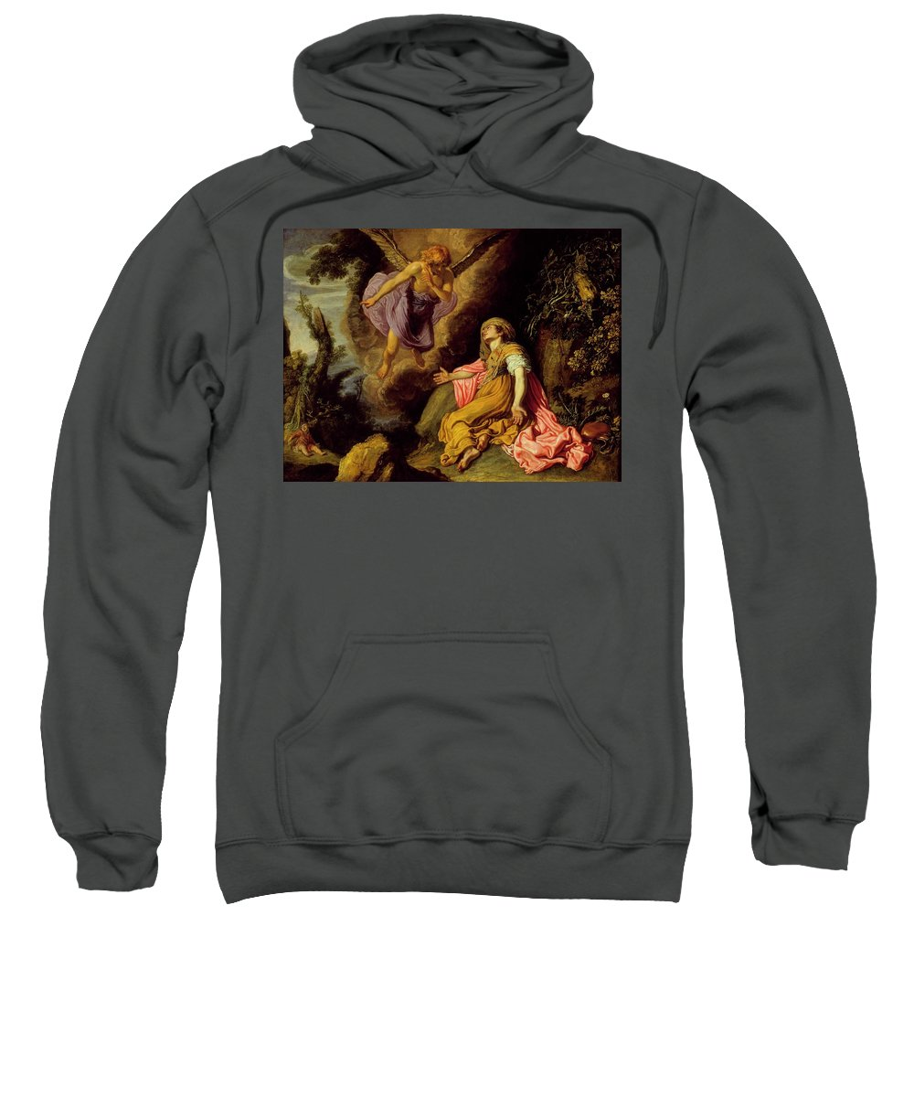 Pieter Lastman - Hagar And The Angel Sweatshirt featuring the painting Hagar And The Angel by MotionAge Designs