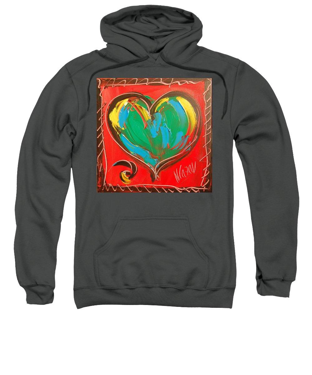 Hearts Sweatshirt featuring the painting Heart by Mark Kazav