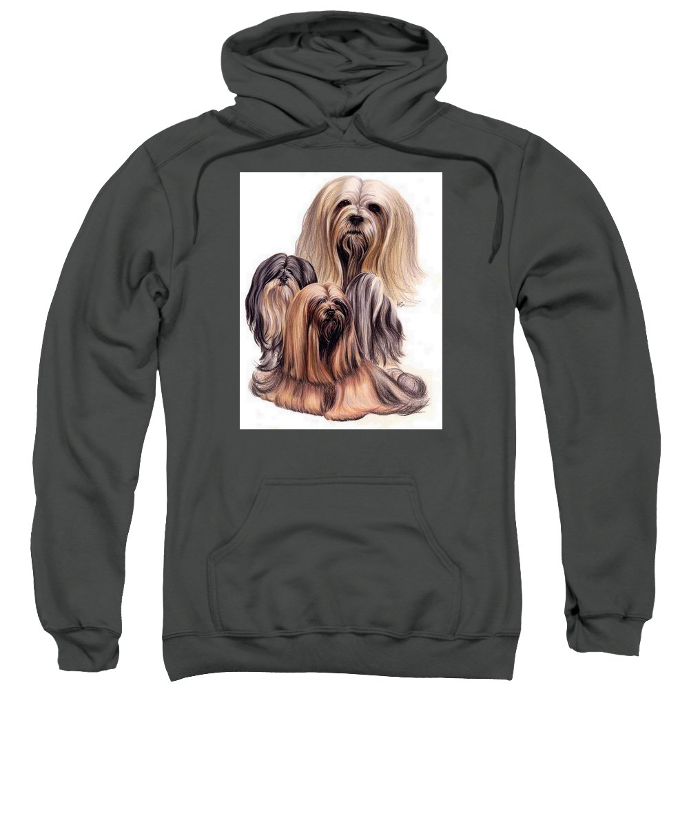 Purebred Sweatshirt featuring the drawing Lhasa Apso Triple by Barbara Keith