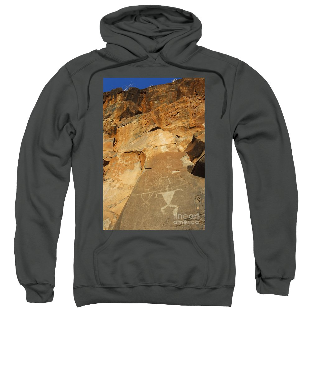 Ancient Sweatshirt featuring the photograph Olowalu Petroglyphs by MakenaStockMedia