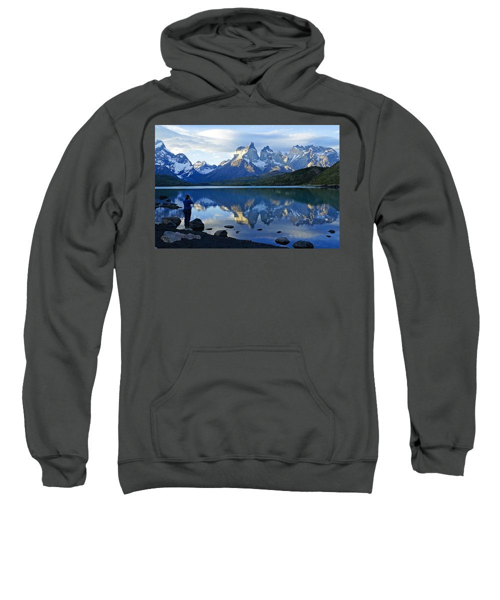Patagonia Sweatshirt featuring the photograph Patagonia Reflection by Michele Burgess