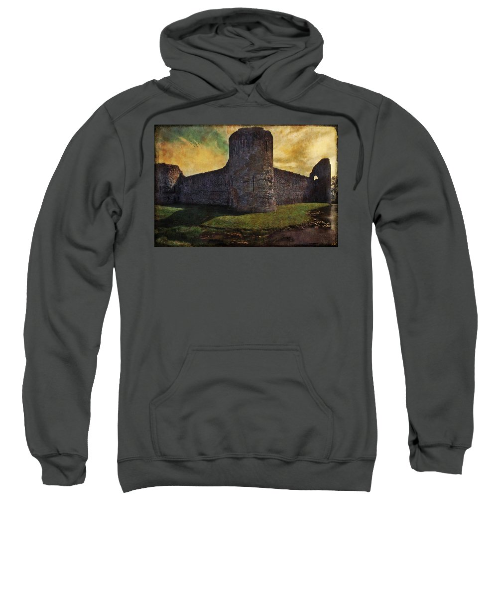 Castle Sweatshirt featuring the photograph Pevensey Castle Ruins by Chris Lord