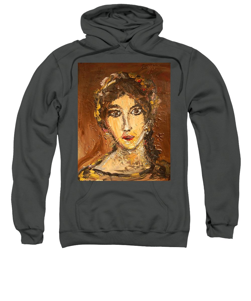 Surreal Framed Prints Sweatshirt featuring the painting Portrait by Mark Kazav