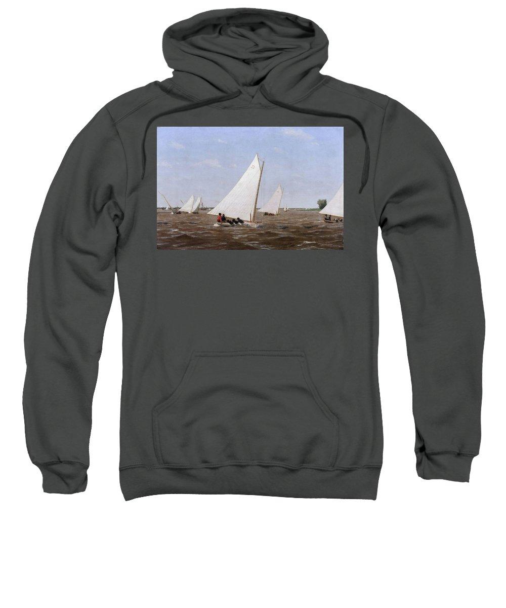 America Sweatshirt featuring the painting Sailboats Racing On The Delaware by Thomas Eakins