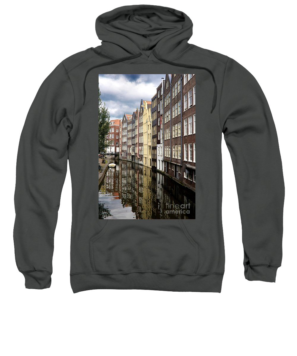 Amsterdam Sweatshirt featuring the photograph Traditional Canal Houses In Amsterdam. Netherlands. Europe by Bernard Jaubert