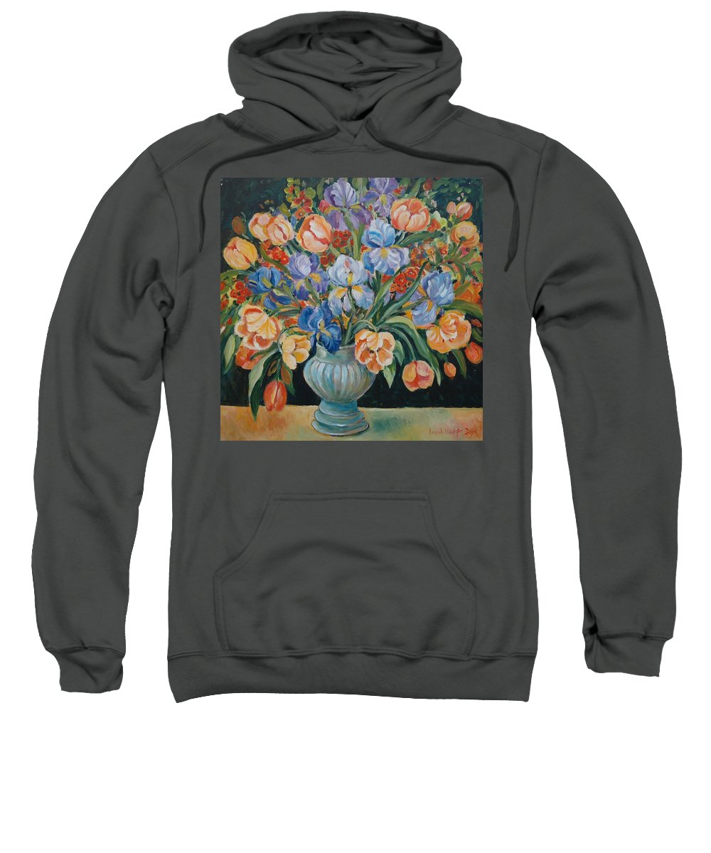 Still Life Sweatshirt featuring the painting Tulips by Alexandra Maria Ethlyn Cheshire