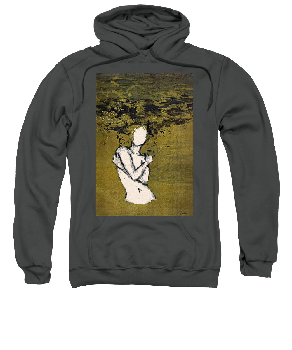 Gold Woman Hair Bath Nude Sweatshirt featuring the mixed media Untitled by Veronica Jackson