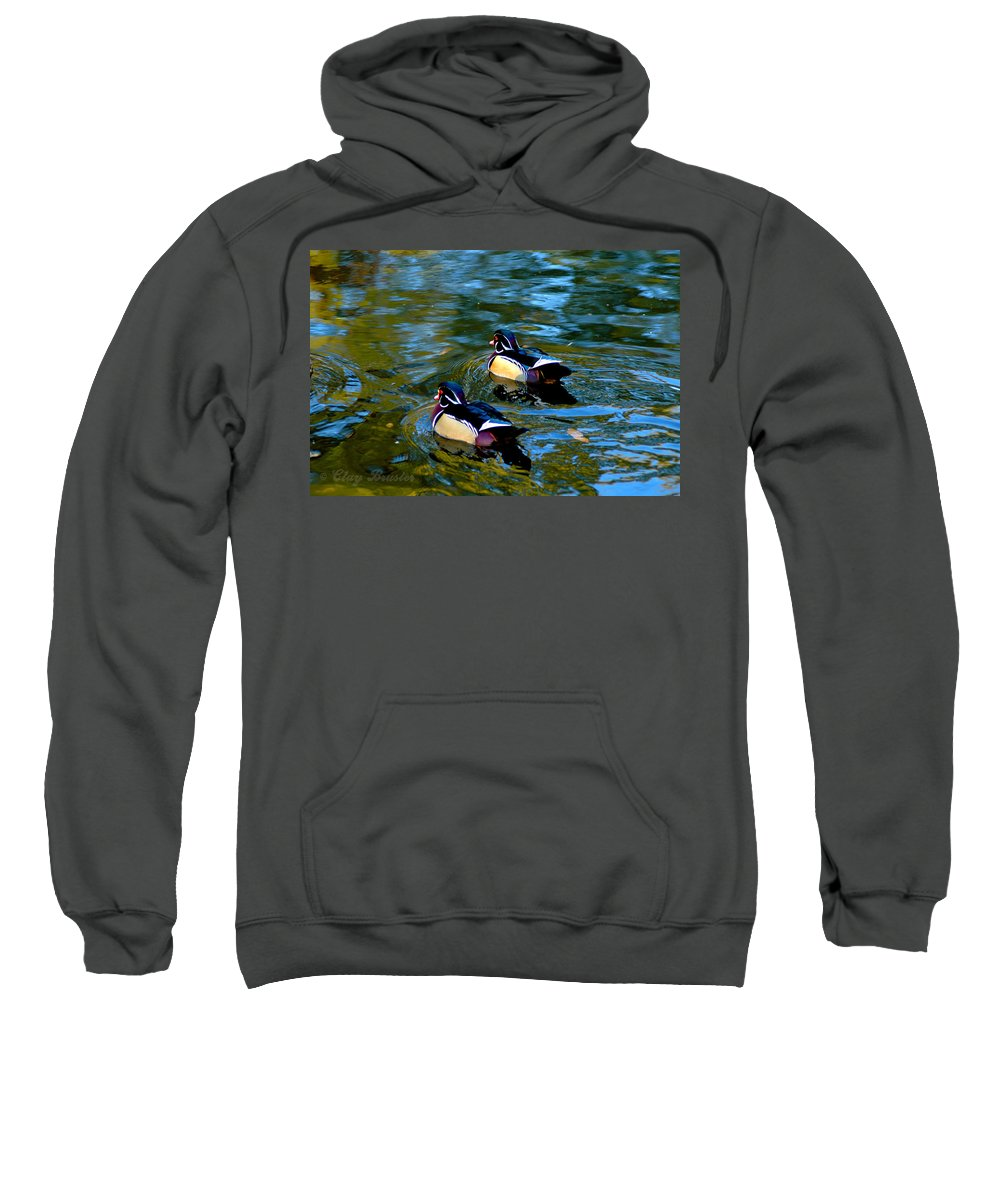 Clay Sweatshirt featuring the photograph Wood Duck by Clayton Bruster