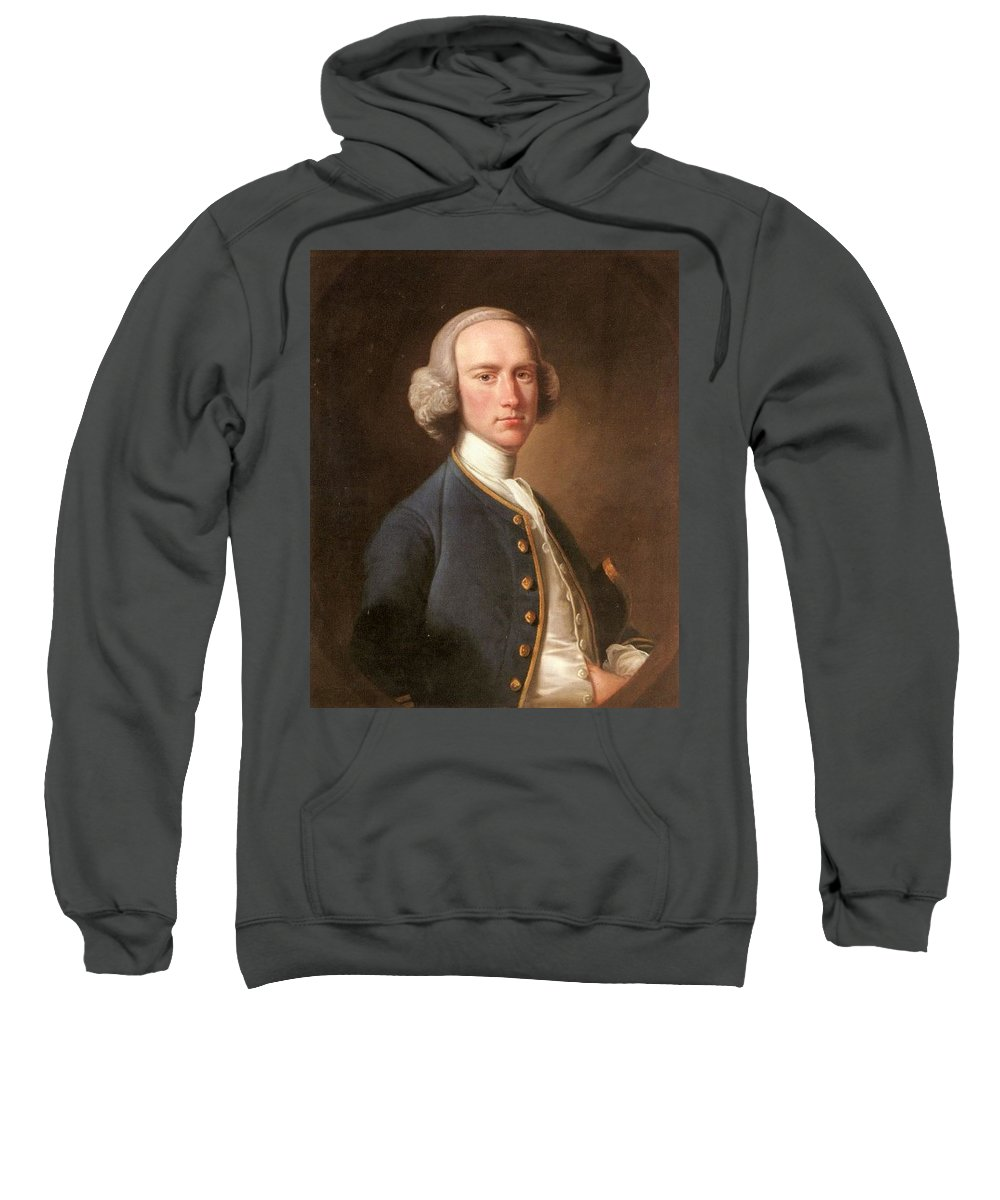 Man Sweatshirt featuring the digital art Portrait Of George Hill Sergeant At Law Henry Pickering by Eloisa Mannion