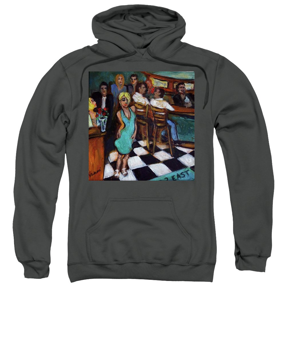 Restaurant Sweatshirt featuring the painting 32 East by Valerie Vescovi
