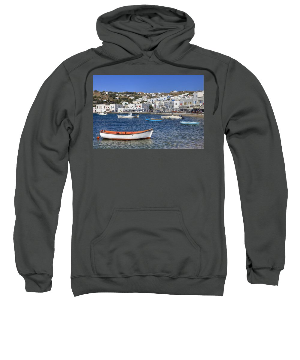 Agios Nikolaos Tis Kadenas Sweatshirt featuring the photograph Mykonos by Joana Kruse