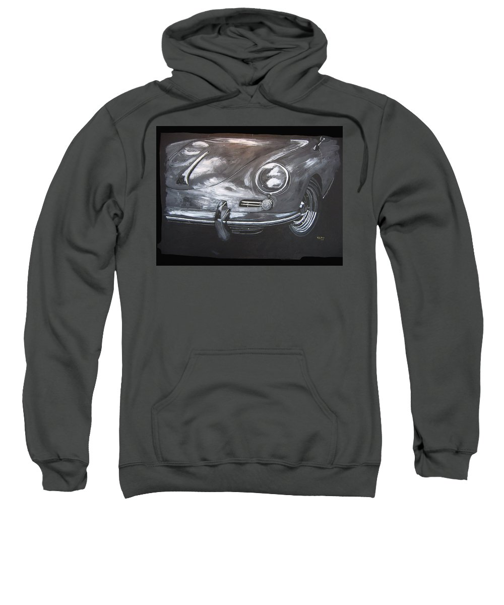 Car Sweatshirt featuring the painting 356 Porsche Front by Richard Le Page