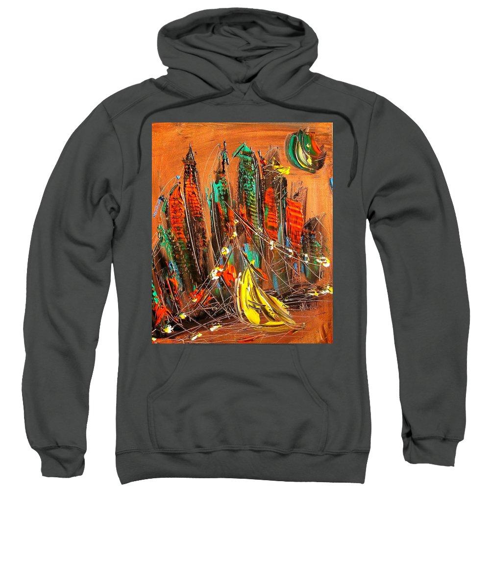 Newyork Sweatshirt featuring the painting Cityscape by Mark Kazav