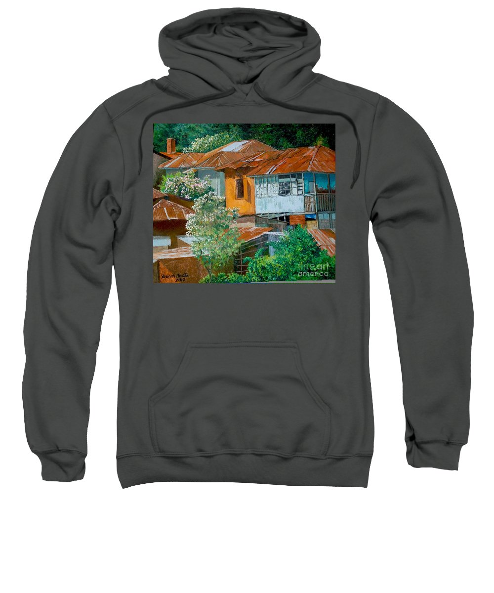 Cityscape Sweatshirt featuring the painting Cityscape by Yoseph Abate
