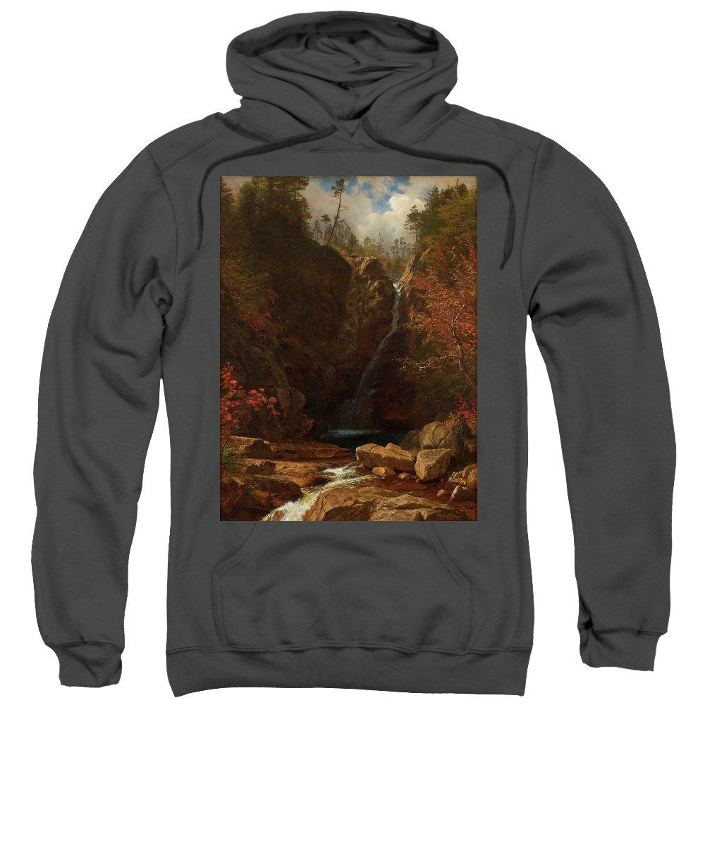 Albert Bierstadt Sweatshirt featuring the painting Glen Ellis Falls by Albert Bierstadt