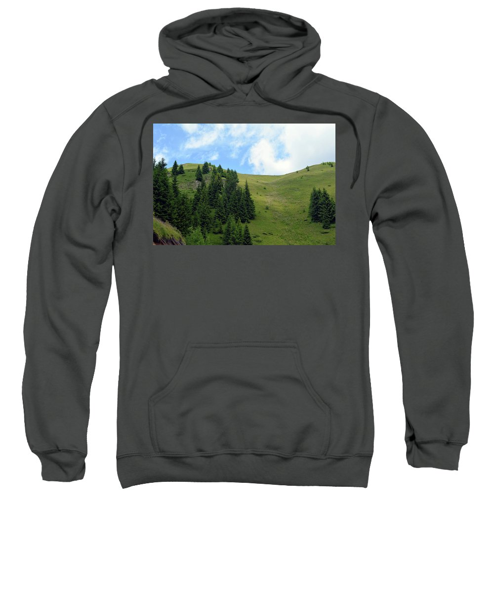 Sky Sweatshirt featuring the photograph Natural Scenery With Mountains And Cloudy Sky. by Oana Unciuleanu