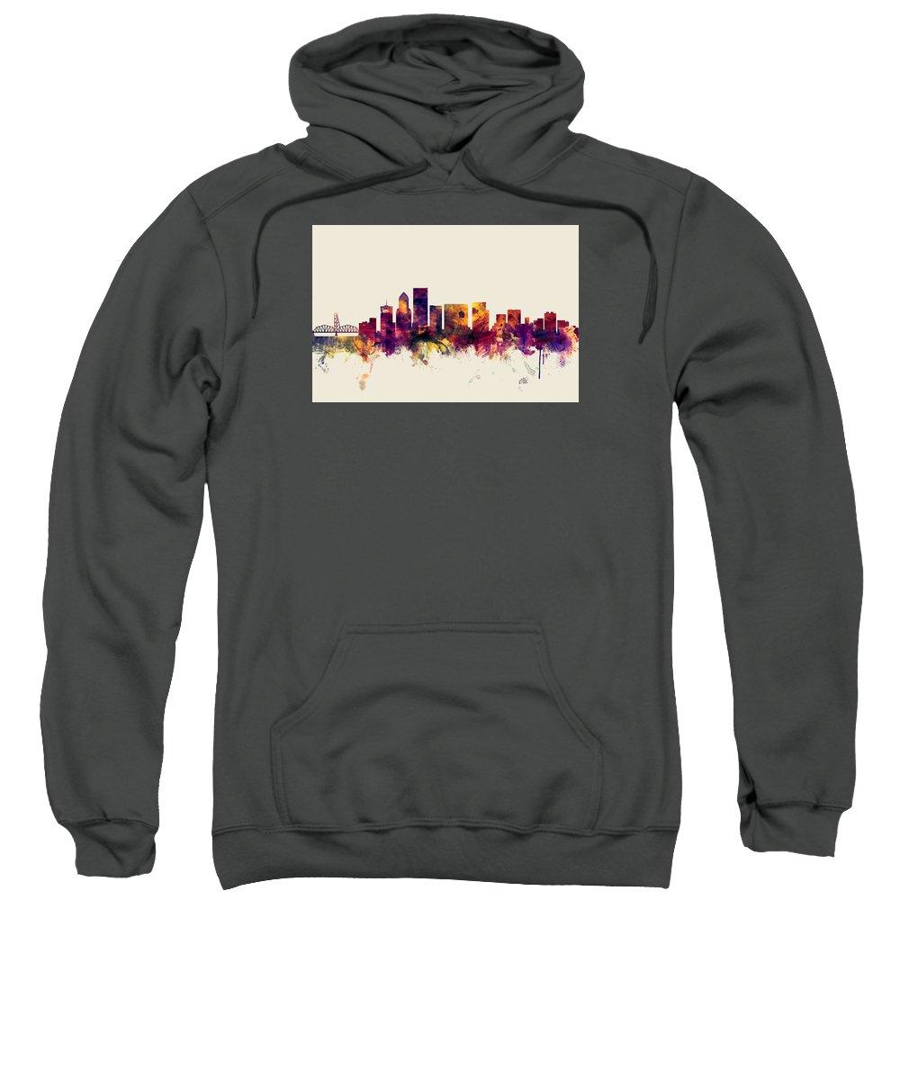 United States Sweatshirt featuring the digital art Portland Oregon Skyline by Michael Tompsett