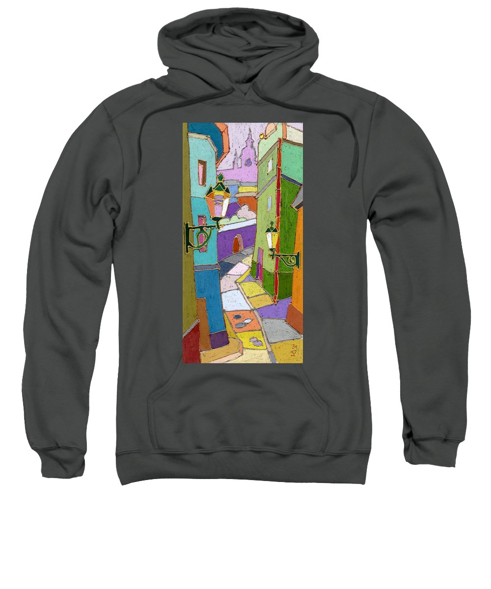 Pastel Sweatshirt featuring the painting Prague Old Street by Yuriy Shevchuk