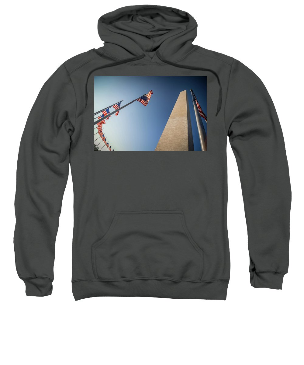 Monument Sweatshirt featuring the photograph Washington Dc Memorial Tower Monument At Sunset by Alex Grichenko
