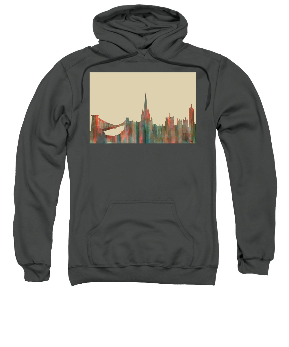 Bristol England Skylineblue Sweatshirt featuring the digital art Bristol England Skyline by Marlene Watson