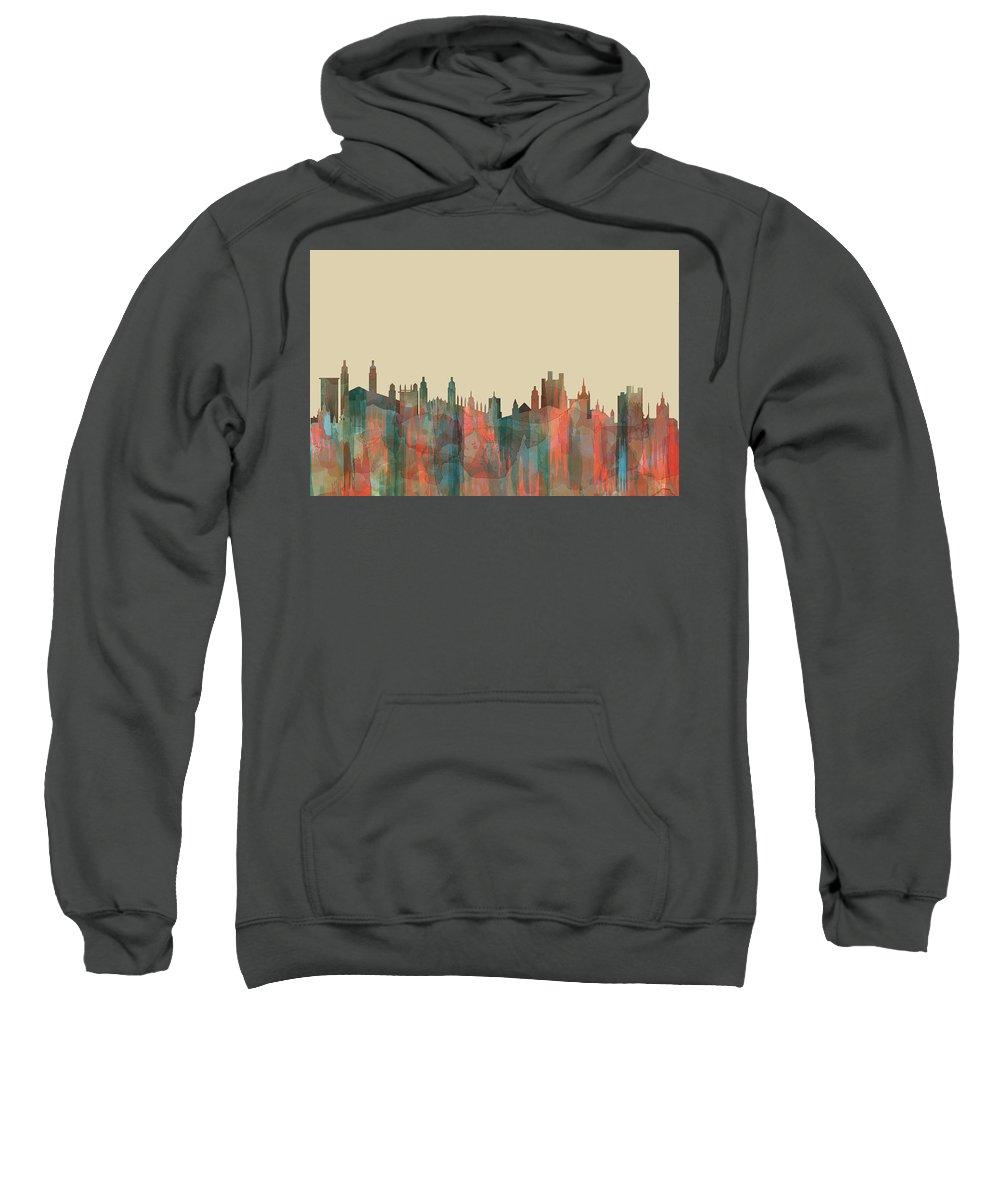 Cambridge England Skylineblue Sweatshirt featuring the digital art Cambridge England Skyline by Marlene Watson