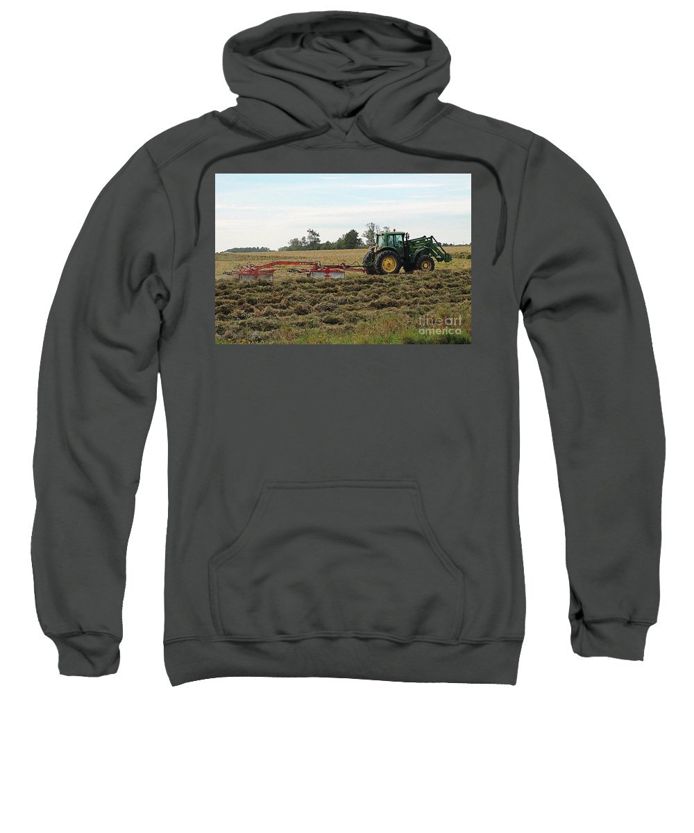 Mccombie Sweatshirt featuring the painting Raking Hay by J McCombie