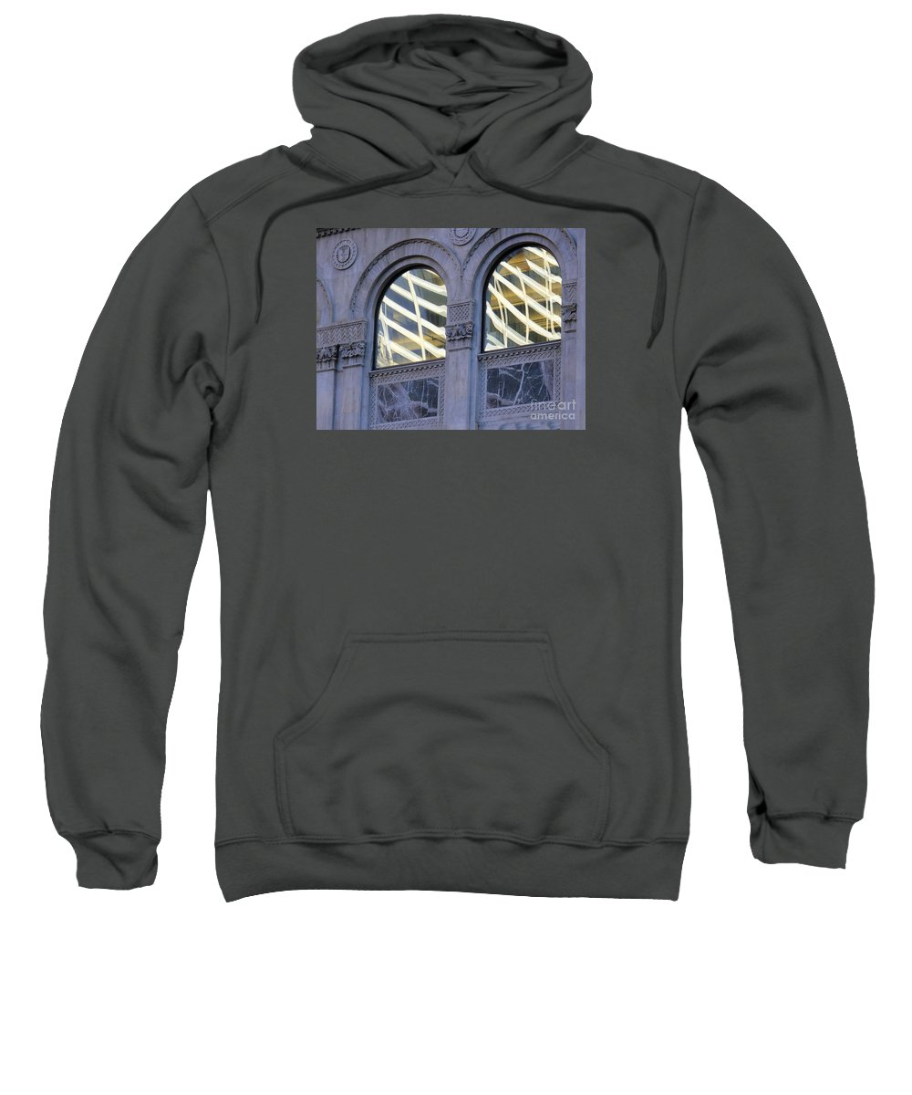 Abstract Sweatshirt featuring the photograph 5th Avenue Reflections by Rick Locke
