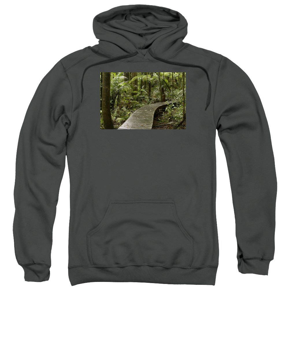 Rain Forest Sweatshirt featuring the photograph Forest Boardwalk by Les Cunliffe