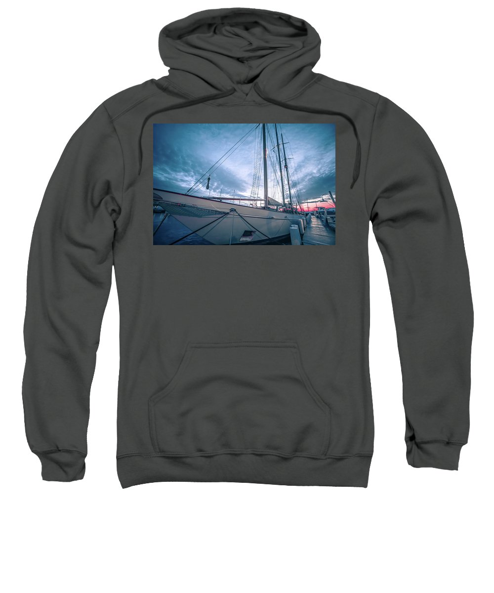 Old Sweatshirt featuring the photograph Newport Rhode Island Harbor With Tall Ships At Sunset by Alex Grichenko