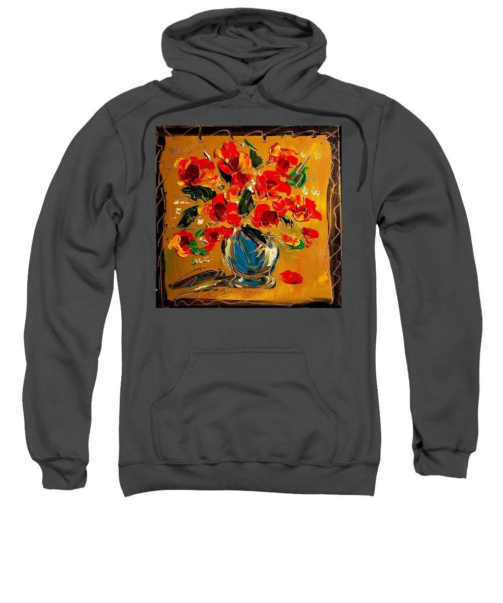 Newyork Sweatshirt featuring the painting Poppies by Mark Kazav