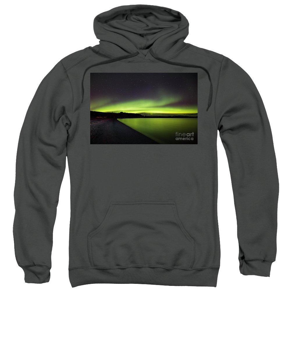 29.09.16 Sweatshirt featuring the photograph Aurora Borealis Over Iceland by Gunnar Orn Arnason