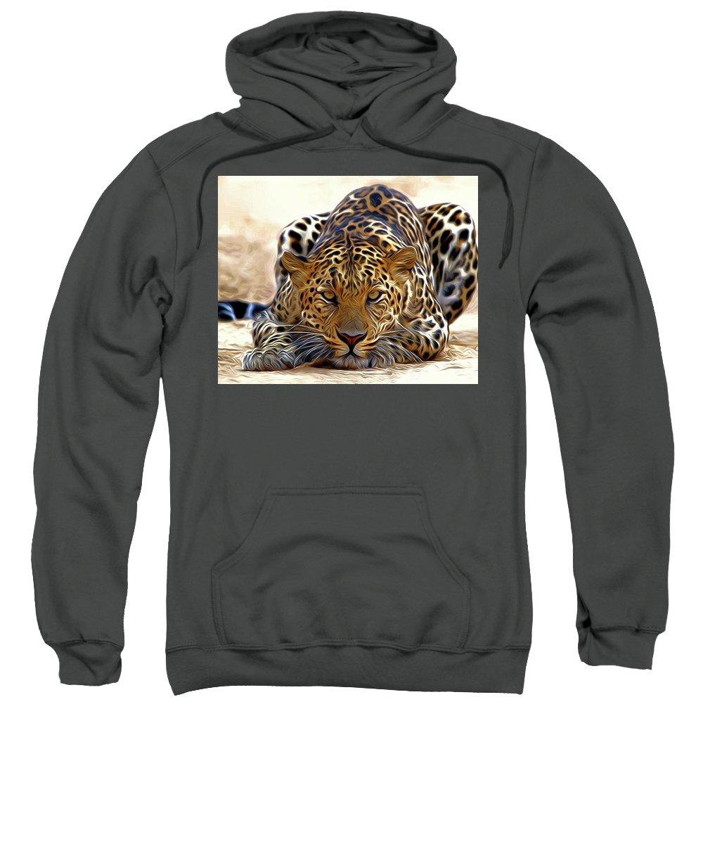 Leopard Sweatshirt featuring the digital art Leopard by Nadezhda Zhuravleva